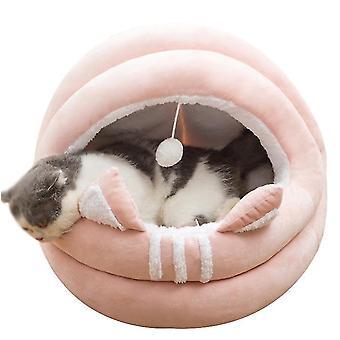 L rosa Katze Haustier Haus bett mit abnehmbaren Kissenwarm Winter schlafen Kuschelkissen Matte x4765