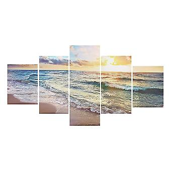 5 Panels unframed modern canvas seascape sunrise art hanging picture