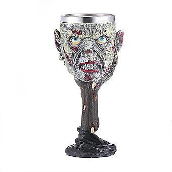 3d Skull Metal Wine Goblet Cup Mug Tankard Double Wall Resin Stainless Steel