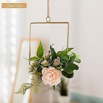 Cilected Nordic Ins Iron Wreath Romantic Wedding Square Garland Wall Hanging Simulation Flower
