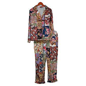 Tolani Coleção Women's Pajama Set Impresso Botão Tecido Azul A390127