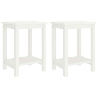 vidaXL bedside tables 2 pcs. white 35x30x47 cm pine solid wood