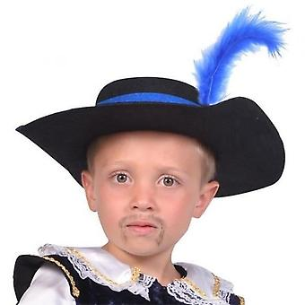 Cesar Musketeer Hat With Feather - Blue
