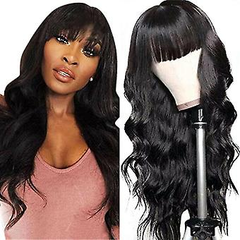 Womens Cosplay Synthetic Full Wigs with Bangs Black Long Wavy Wig Heat Resistant