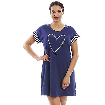 Camille Womens Short Sleeve Plain Nightshirt With Heart Motif Navy