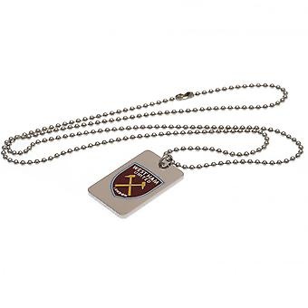 West Ham United FC Emaille Crest Dog Tag & Ketting