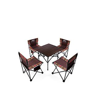 Folding Table And Folding Chair Set Portable Camping Beach Self-driving Picnic Large Aluminum Table Leisure Table And Chair Five-piece Set Hl-0204