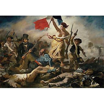 Tapet kunstmaleri Liberty leder folket av Eugène Delacroix