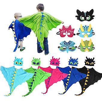 Halloween Drachenflügel Kostüm für Kinder Maske Dinosaurier Dress Up Cape