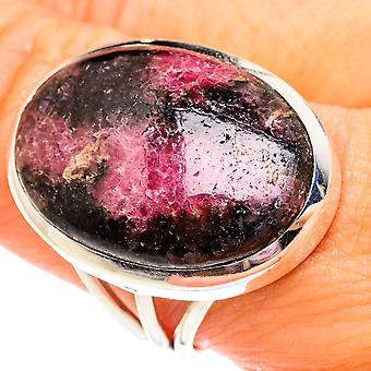 Grande bague en rhodonite taille 10 (argent sterling 925) - Bijoux vintage boho faits à la main RING75878