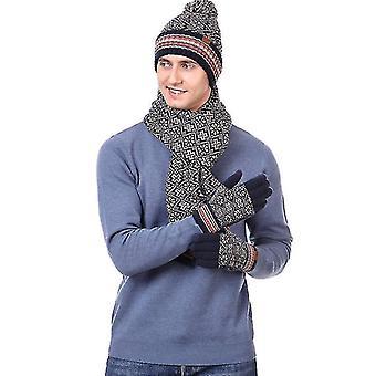 צעיפים 3 יח ' צעיף כובע חורף וכפפות להגדיר לגברים ונשים (בז ') #310