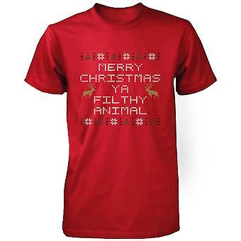 God jul Ya smutsiga djur röd Kortärmad X-mas T-Shirt