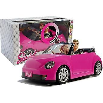 Meisje en Jongens Pop met Auto - Roze Cabriolet - met Geluid en Licht - 43 cm
