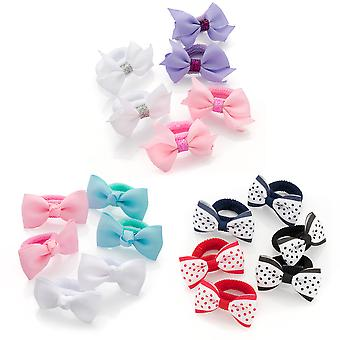 Three Pairs Various Colour Bow Hair Ponio Set