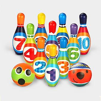 Mini Bowling Set - 10 Pins + 2 Multicolored Bowling Foam Balls Outdoor Game Outdoor Games For Kids Boy Girl 3 4 5 Years Old (10 Pins)