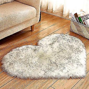 Rugs heart shaped soft faux sheepskin fur area rugs 40x50cm long velvet white and black