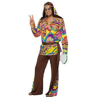 Hippie kostuum mens van 60s flower power kostuum