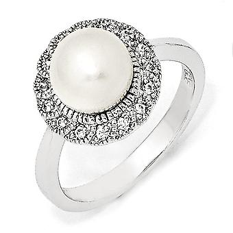 925 Sterling Argent Rhodium plaqué CZ Cubic Zirconia Simulated Diamond White Freshwater Cultured Pearl Ring Bijoux Cadeau
