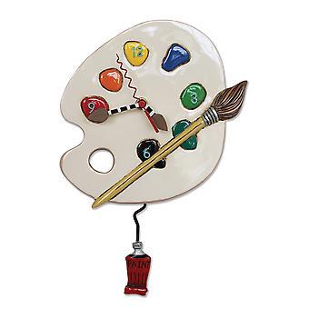 Allen suunnittelee Art aikaa taidemaalari väripaletti Pendulum seinäkello
