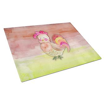 Carolines Treasures  BB7417LCB Rooster Watercolor Glass Cutting Board Large