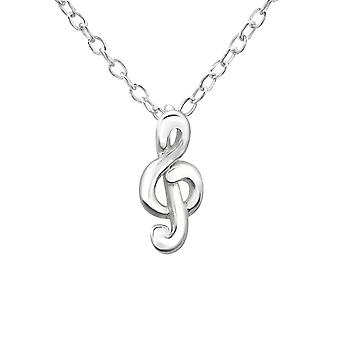 Treble Clef - 925 Sterling Silver Plain Necklaces - W19687X