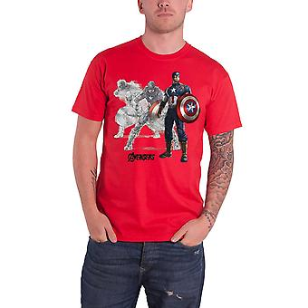 Official Mens Captain America T Shirt Drawing Avengers Age of Ultron size small