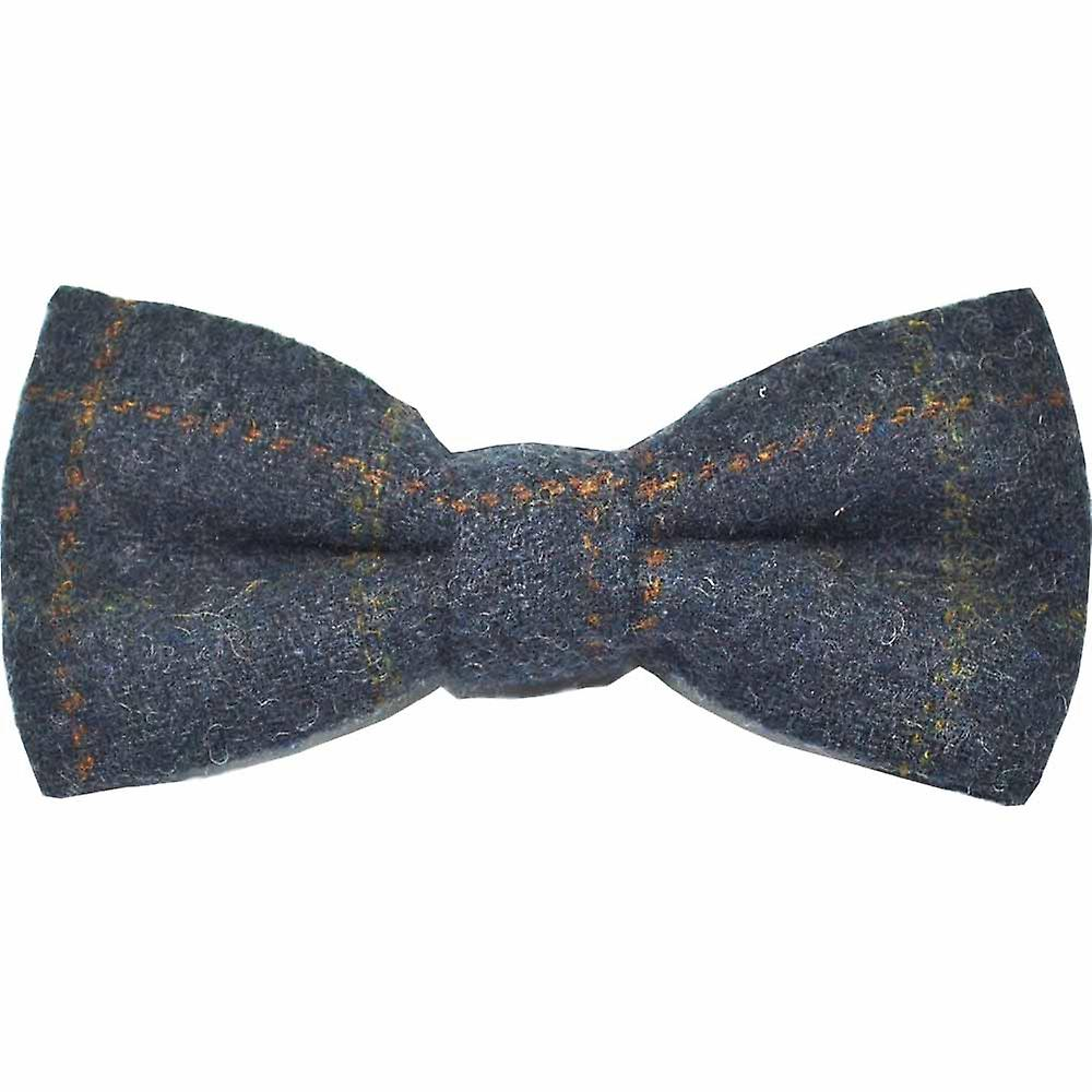Heritage Check Navy Blue Bow Tie & Pocket Square Set - Tweed, Plaid Country Look