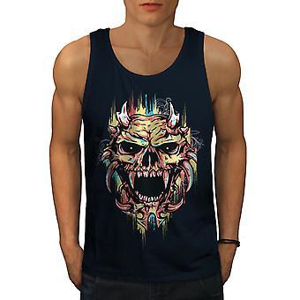 Satan Devil Scary Skull Men NavyTank Top | Wellcoda