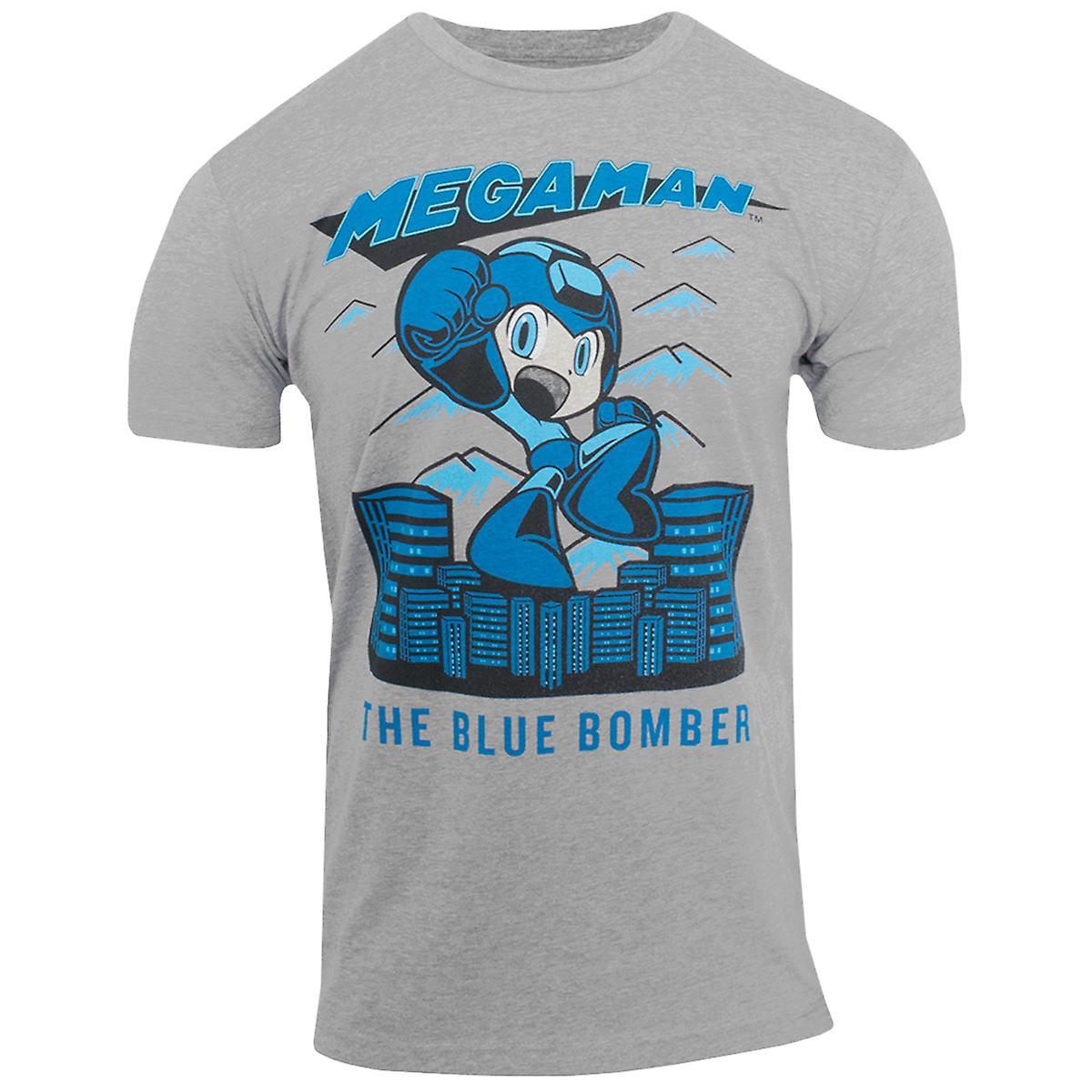 Capcom Mega Man blå bombplan Premium utrustade T-Shirt-Heather mörkgrå
