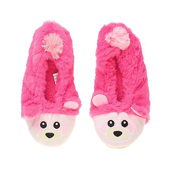 Ajvani womens elastico in pile foderato pelliccia accogliente orso procione animale faccia presa pantofole calzini