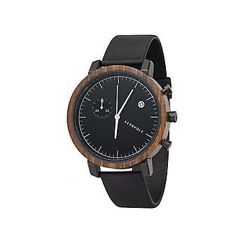 Notched wooden Franz sandalwood midnight black mens watch chronograph 4251240403984