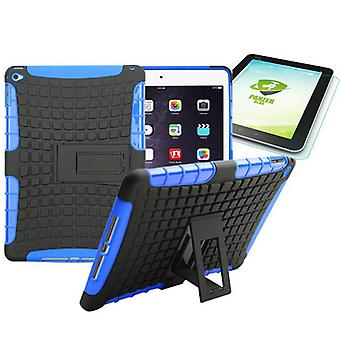 Hybrid outdoor protective case blue for iPad air 2 bag + 0.4 H9 tempered glass