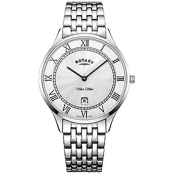 Rotary Mens Ultra Slim White Dial Stainless Steel GB08300/01 Watch