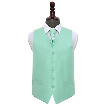 Mint Green Greek Key Wedding Waistcoat & Cravat Set