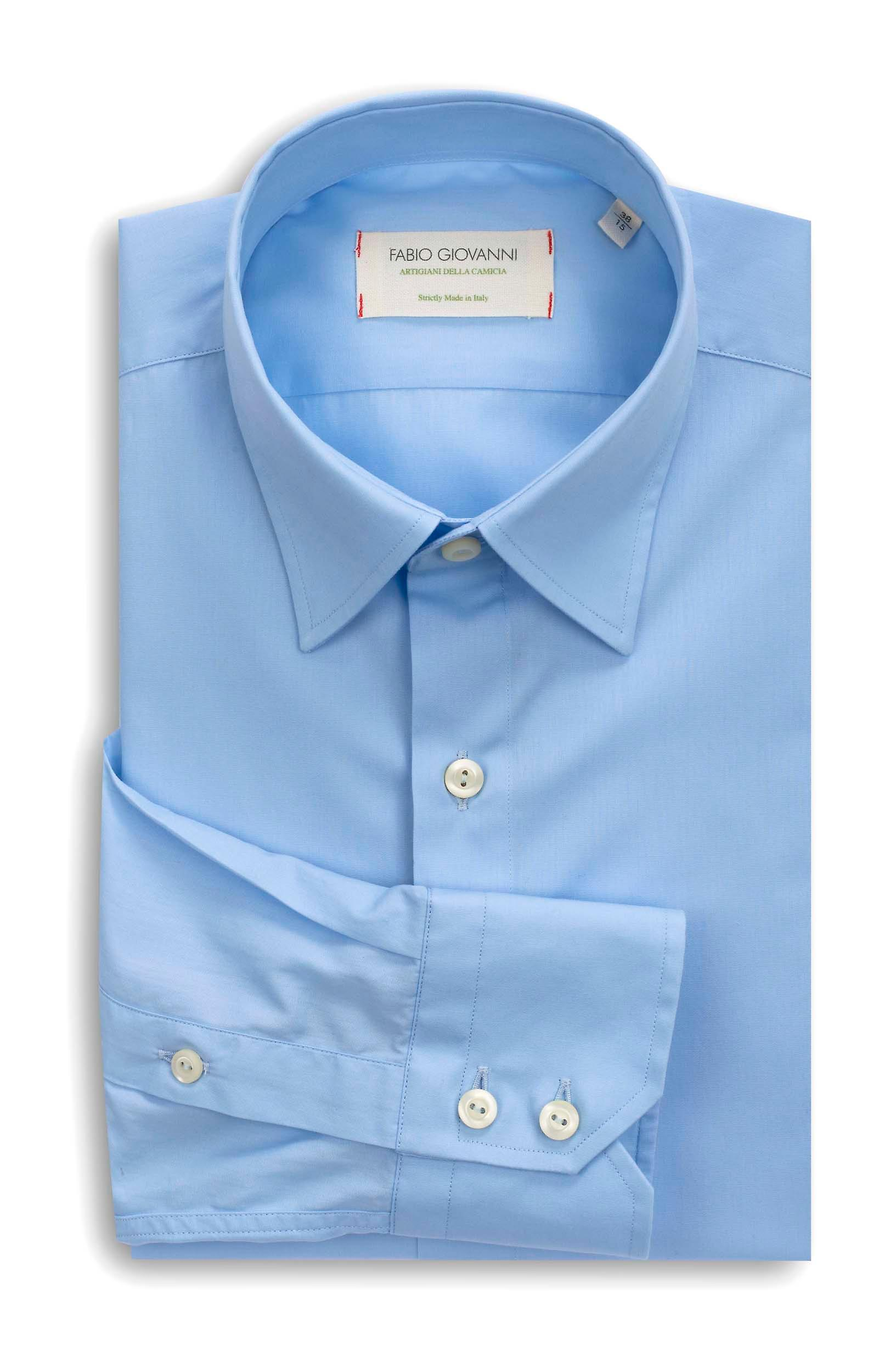 Fabio Giovanni Salina Shirt - Italian Stretch Cotton with Soft Collar - Plain Blue Shirt