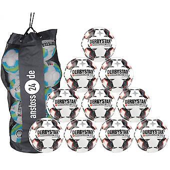 10 x DERBYSTAR jeu Ball-BUNDESLIGA BRILLANT APS 18/19 y compris Ballsack