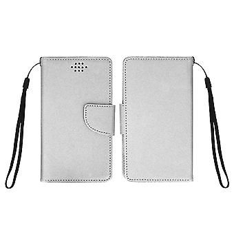 Universal Fancy style wallet case for phones with dimensions 162 x 81mm - Silver