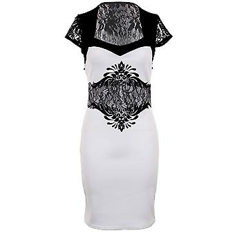 Ladies Square Neck Floral Print Lace Glitter Short Party Evening Women's Dress