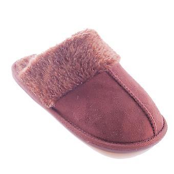 SlumberzzZ Womens Microseuede Faux Fur Lined Mule Slippers