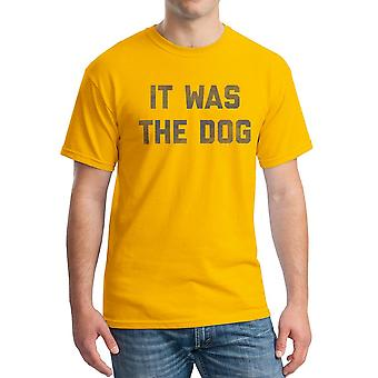 Funny It Was The Dog Graphic Men's Gold T-shirt