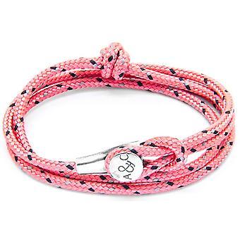 Anclaje y equipo Dundee plata y pulsera de cuerda - rosa