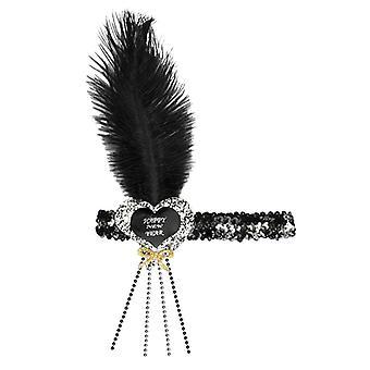 Prosit Neujahr Schwarz-Silber Glitzer Herz-Pailletten Haarband
