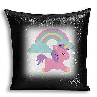 i-Tronixs - Unicorn Printed Design Black Sequin Cushion / Pillow Cover for Home Decor - 4