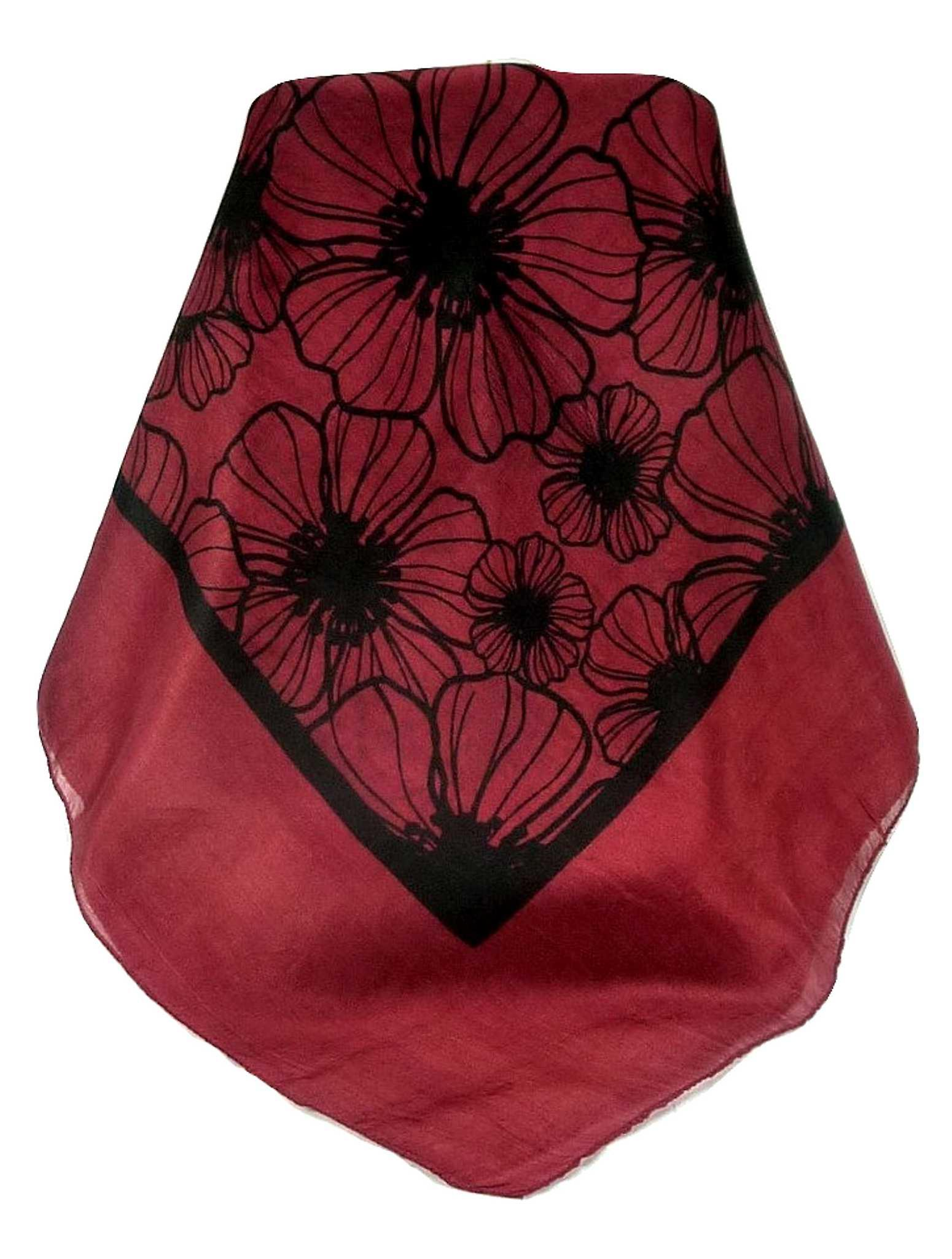 Mulberry Silk Contemporary Square Scarf Tora Carnation by Pashmina & Silk