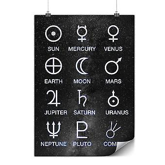 Matte or Glossy Poster with Astronomy Moon Symbols | Wellcoda | *y3500