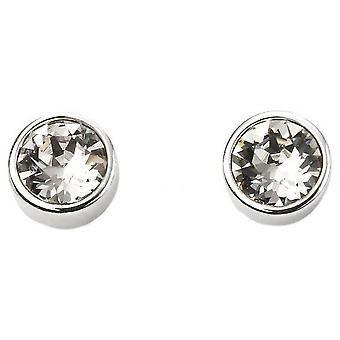 Beginnings April Swarovski Birthstone Earrings - Silver/Clear