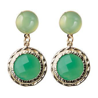 Gemshine kvinnors Örhängen grön chalcedony ädelstenar. 925 silver eller guldpläterad