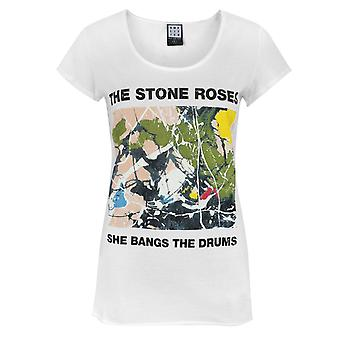 Amplified Stone Roses She Bangs The Drums Women's T-Shirt White