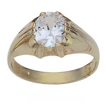 9ct arany ovális pasziánsz CZ meg ruha gyűrű mérete Z