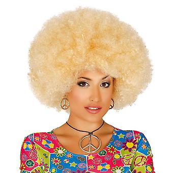 Volwassenen Blonde Afro pruik Fancy Dress accessoire